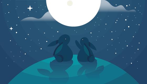 兔子望月设计中秋节矢量素材(AI/EPS)