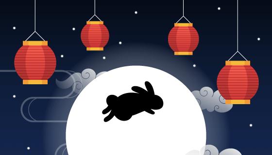 兔子灯笼月亮设计中秋节矢量素材(AI/EPS)