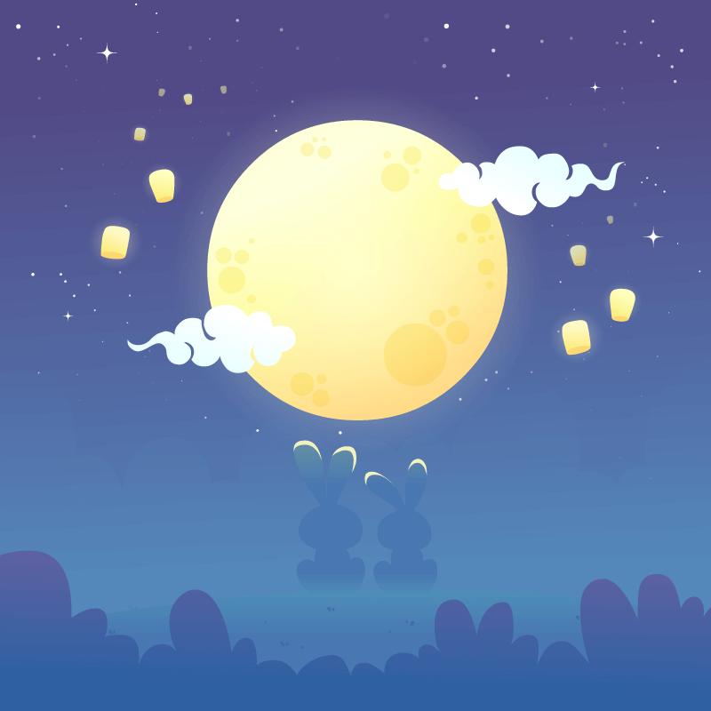 皎洁的月亮和兔子设计中秋节矢量素材(AI/EPS)