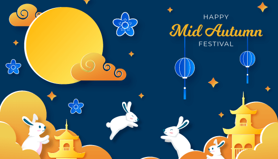 兔子和月亮设计中秋节矢量素材(AI/EPS)