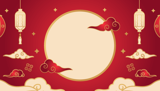 金色月亮灯笼设计中秋节banner矢量素材(AI/EPS)