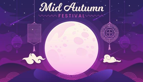 皎洁的月亮设计中秋节矢量素材(AI/EPS)
