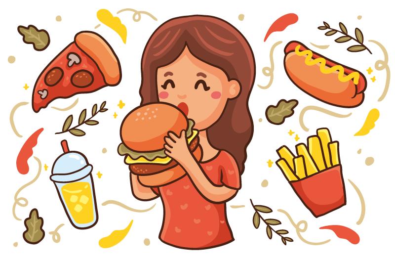 吃汉堡的女子矢量素材(AI/EPS/免扣PNG)