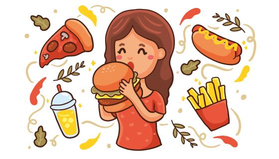 吃汉堡的女子矢量素材(AI/EPS/PNG)