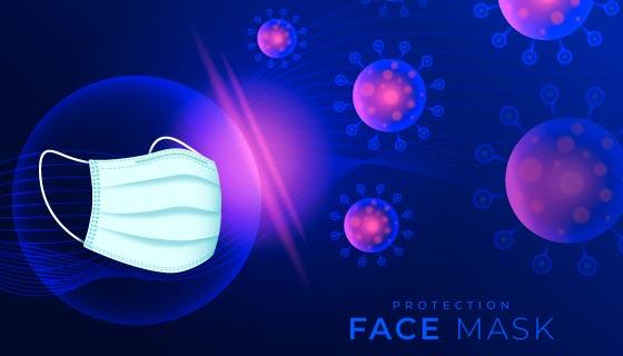 口罩和新冠病毒背景矢量素材(AI/EPS)