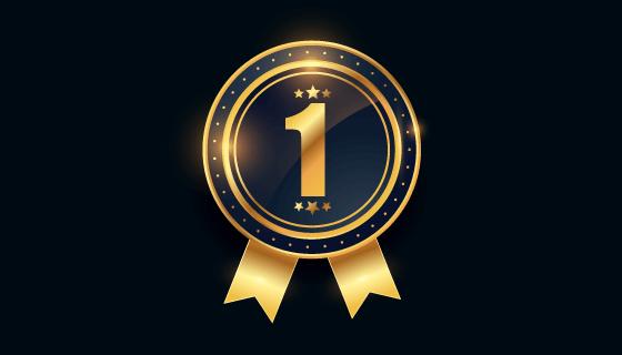 第一名金牌奖章矢量素材(EPS)