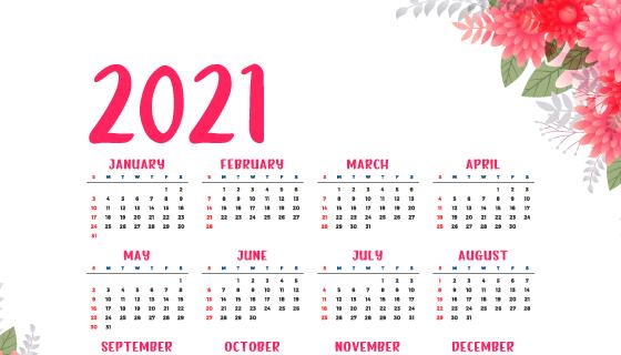 漂亮花卉设计2021年日历矢量素材(EPS)