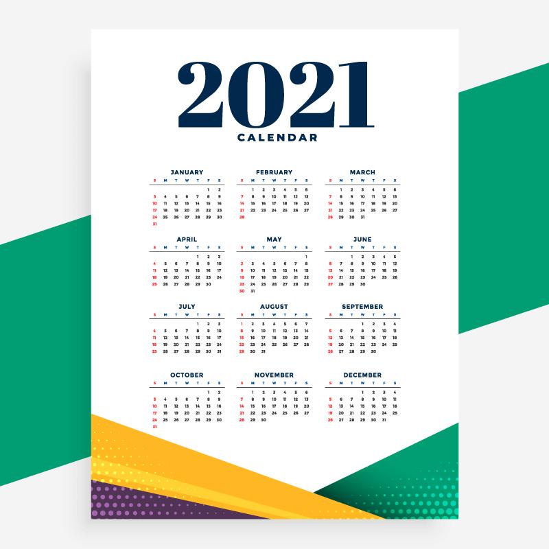 简单几何设计2021年日历矢量素材(EPS)