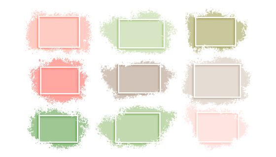 9个抽象水彩风格边框矢量素材(EPS)