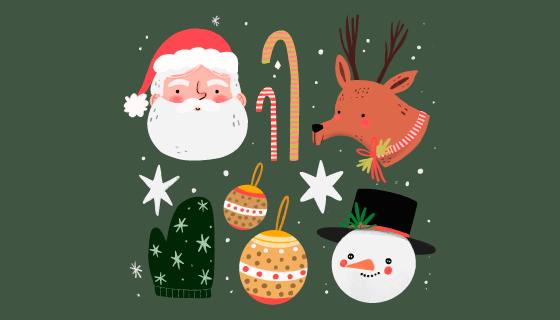 可爱的圣诞节元素矢量素材(AI/EPS/PNG)