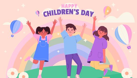 扁平风格世界儿童日矢量素材(AI/EPS)
