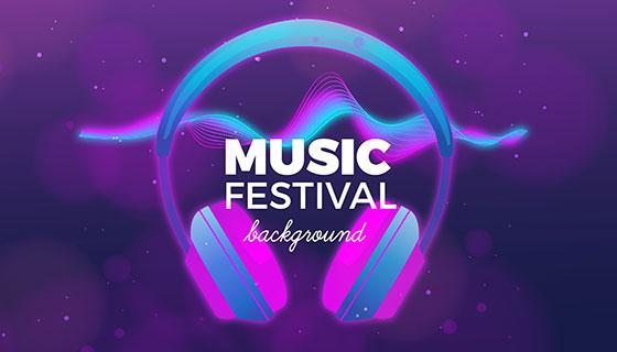 耳麦元素设计音乐节背景矢量素材(EPS/AI)