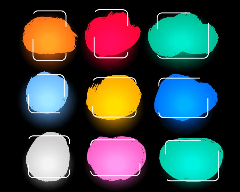 9个抽象多彩边框矢量素材(EPS)