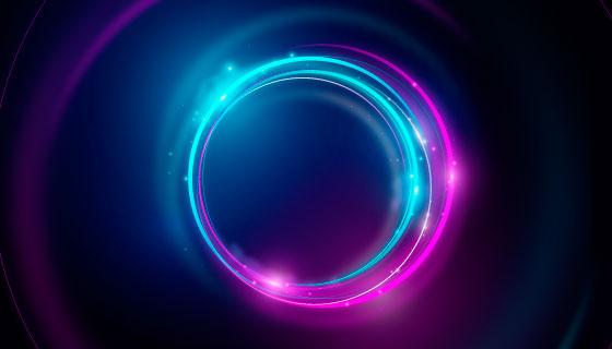 抽象霓虹灯圆圈背景矢量素材(AI/EPS)