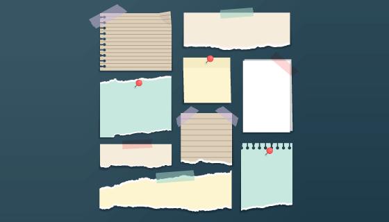 胶带和撕破的便签纸矢量素材(AI/EPS/PNG)