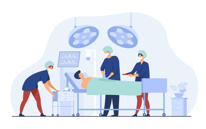 正在做手术的医生和患者插画矢量素材(EPS)