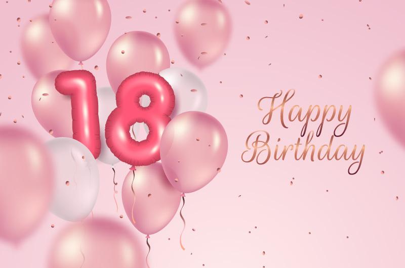 粉色气球设计18岁生日快乐背景矢量素材(AI/EPS)