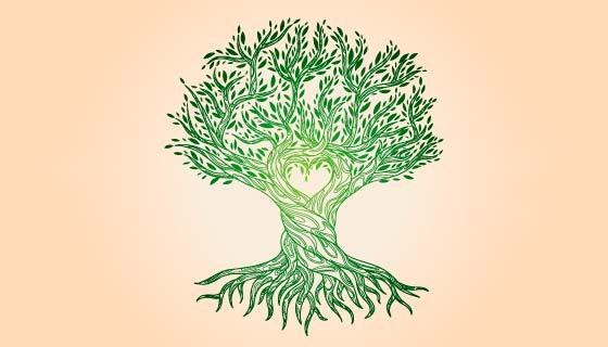手绘风格生命之树矢量素材(AI/EPS/PNG)