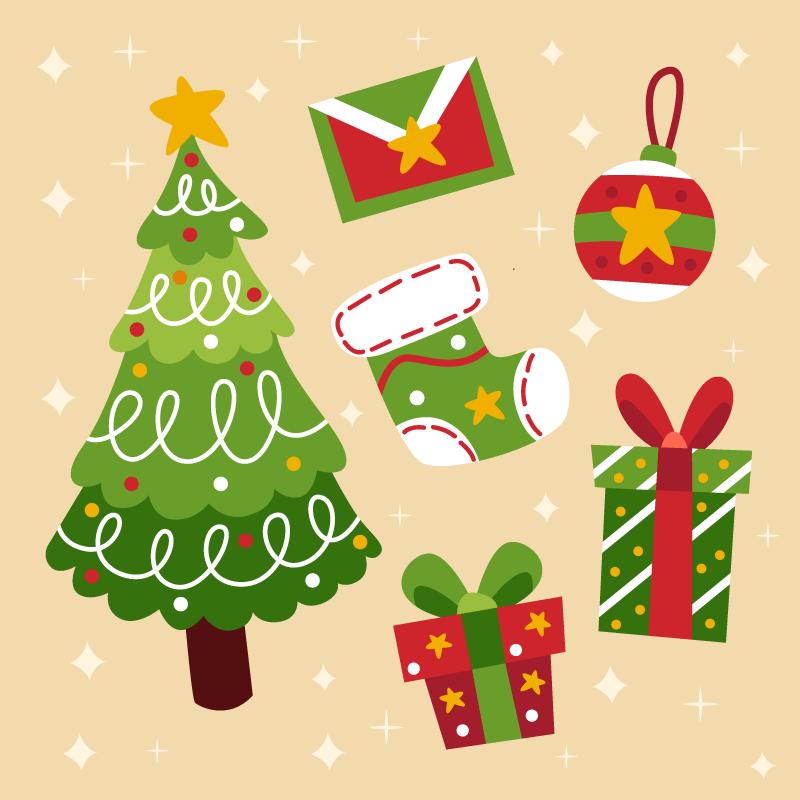 可爱的圣诞节元素矢量素材(AI/EPS/免扣PNG)