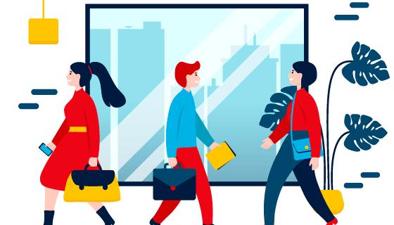 去上班工作的人们插画矢量素材(AI/EPS/PNG)