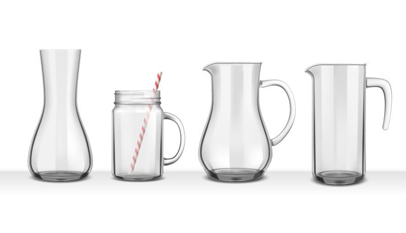 4个逼真的玻璃瓶矢量素材(EPS)
