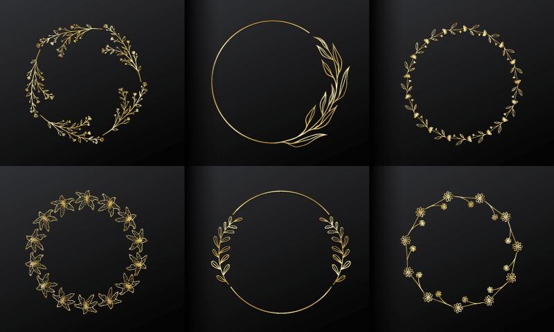 6个金色花饰圆形边框矢量素材(EPS/免扣PNG)