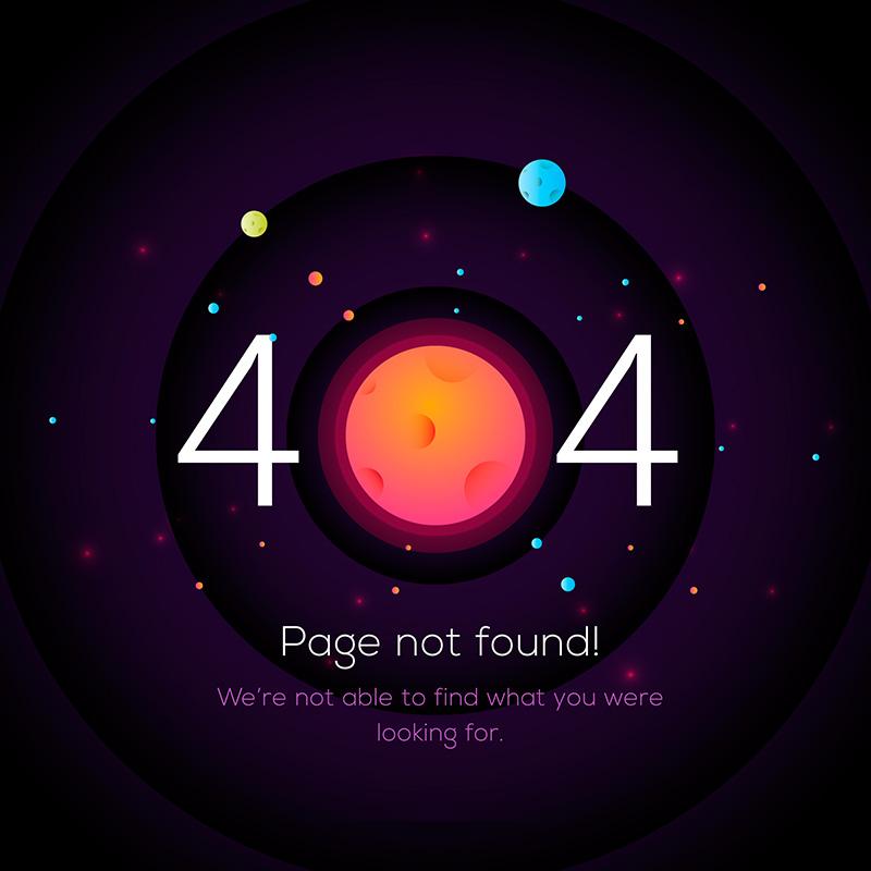 太空星球设计404错误页面(EPS/AI)