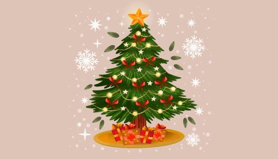 灯泡闪闪的圣诞树矢量素材(AI/EPS/PNG)