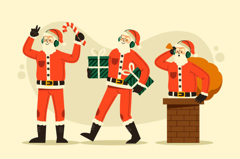 从烟囱里爬出来送礼物的圣诞老人矢量素材(AI/EPS/免扣PNG)