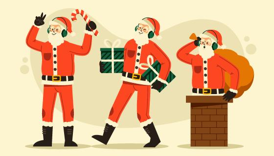 从烟囱里爬出来送礼物的圣诞老人矢量素材(AI/EPS/PNG)