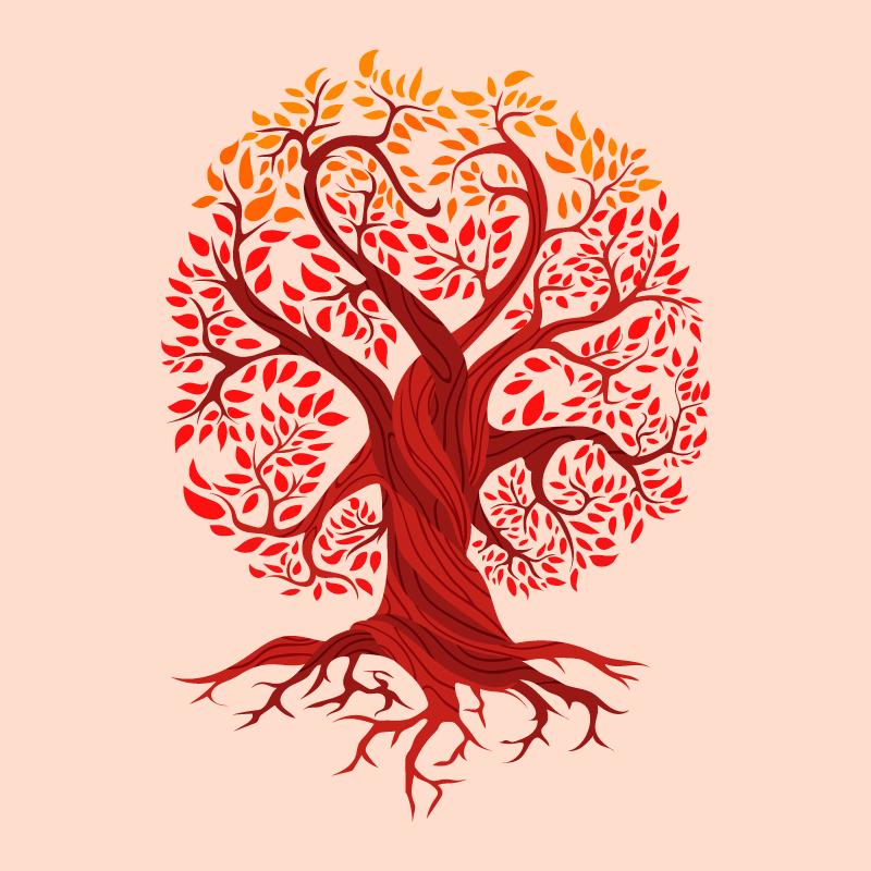 红色的生命之树矢量素材(AI/EPS)
