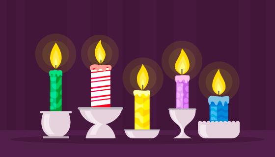 5种不通颜色的蜡烛矢量素材(AI/EPS)
