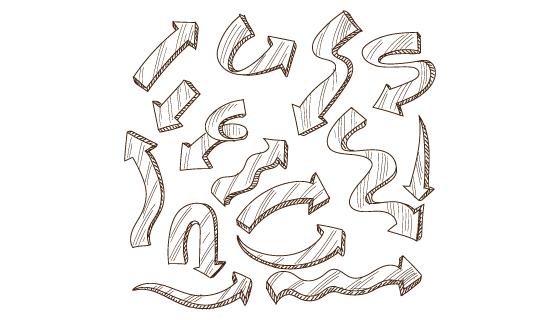 手绘风格创意箭头矢量素材(EPS)