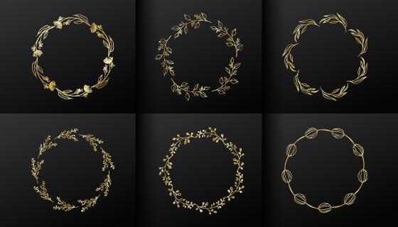 6个金色花饰圆形边框矢量素材(EPS)