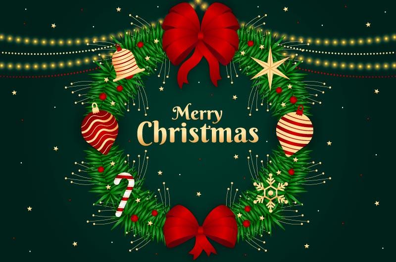 漂亮的圣诞装饰圣诞节背景矢量素材(AI/EPS)