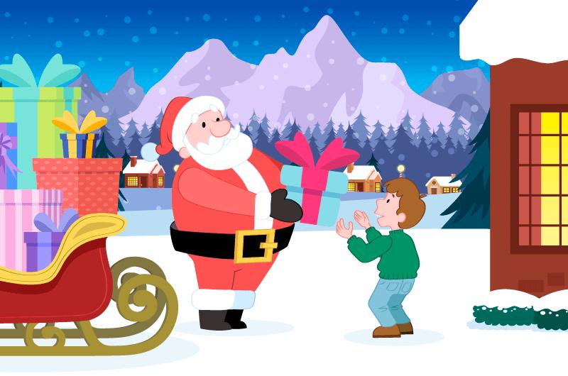 圣诞老人给小朋友送礼物矢量素材(AI/EPS)