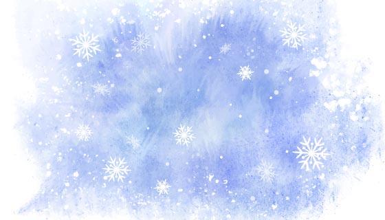 蓝色水彩风格冬天背景矢量素材(AI/EPS)