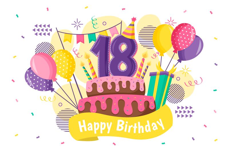 多彩的18岁生日快乐背景矢量素材(AI/EPS/免扣PNG)