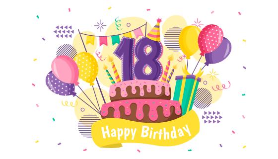多彩的18岁生日快乐背景矢量素材(AI/EPS/PNG)