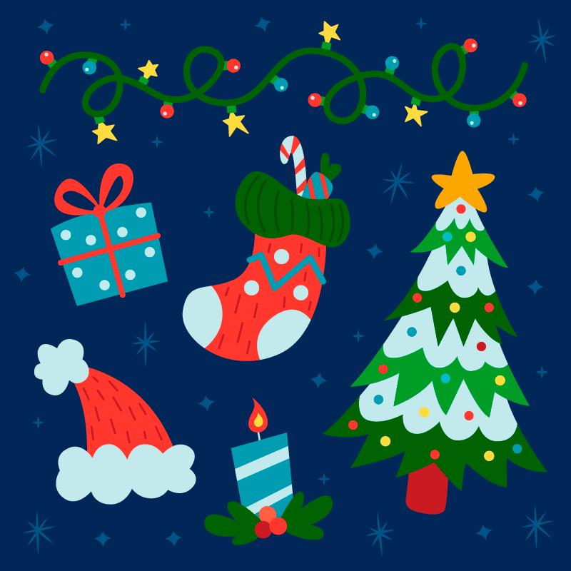 简单的圣诞节元素矢量素材(AI/EPS/免扣PNG)