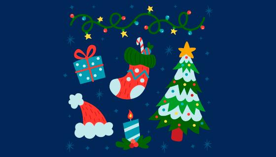 简单的圣诞节元素矢量素材(AI/EPS/PNG)