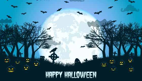 月亮蝙蝠等设计万圣节背景矢量素材(EPS)