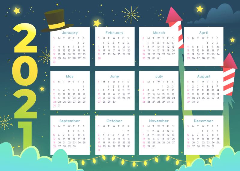 喜庆的2021年新年日历矢量素材(AI/EPS)