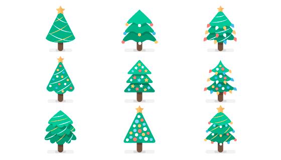 9个简单的圣诞树矢量素材(AI/EPS/PNG)