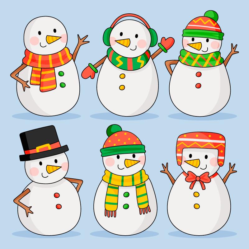 6个手绘风格可爱的雪人矢量素材(AI/EPS/免扣PNG)