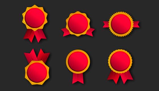 6个不同的红色徽章矢量素材(AI/EPS/PNG)
