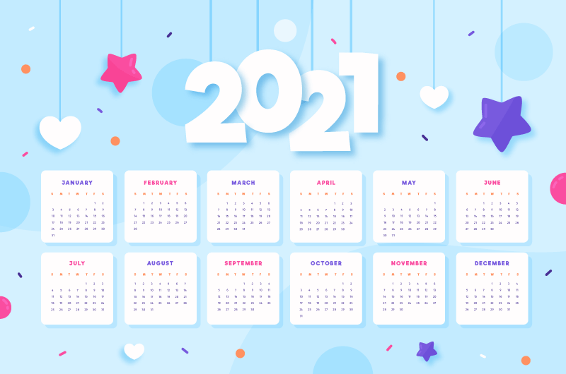 星星爱心吊坠2021年日历矢量素材(AI/EPS)
