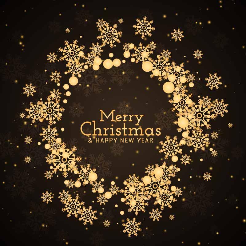 金色雪花圣诞节背景矢量素材(EPS)