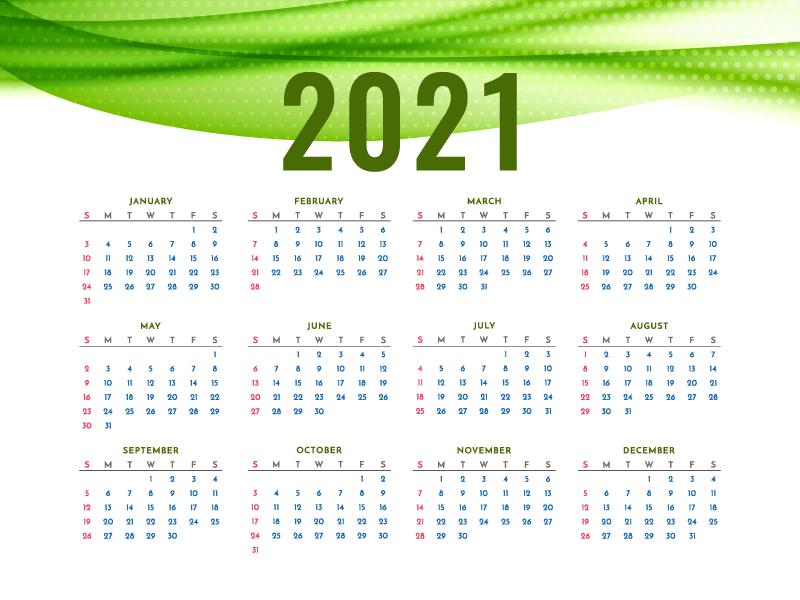 绿色波浪设计2021年日历矢量素材(EPS)