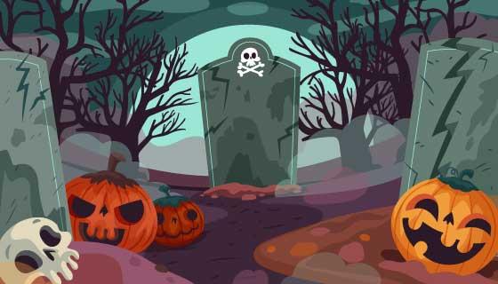 恐怖的墓地万圣节背景矢量素材(AI/EPS)